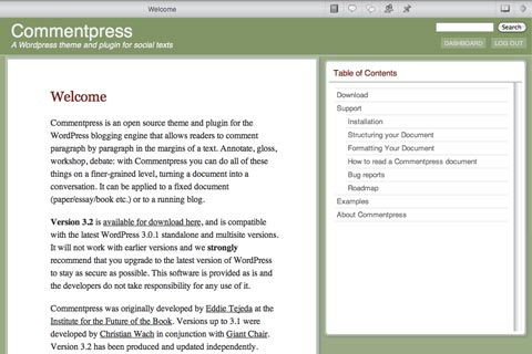 A screenshot of Commentpress 3.2
