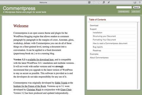 A screenshot of Commentpress 3.2