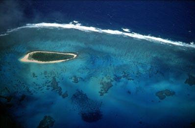 Aerial view of an island in the Ha'apai archipelago, Tonga
